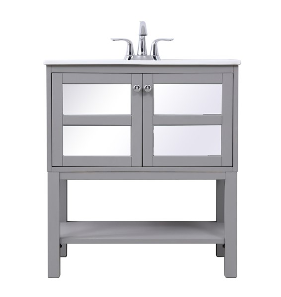 Elegant Decor Mason Grey 30 Inch Single Bathroom Mirrored Vanity Set ELED-VF26MRGR