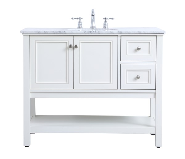 Elegant Decor Metropolis White 42 Inch Single Bathroom Vanity Set ELED-VF27042WH