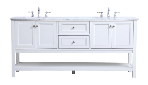 Elegant Decor Metropolis White 72 Inch Double Sink Bathroom Vanity Set ELED-VF27072WH