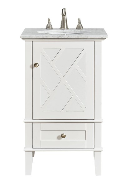Elegant Decor Luxe White 21 Inch Single Bathroom Vanity Set ELED-VF30221WH