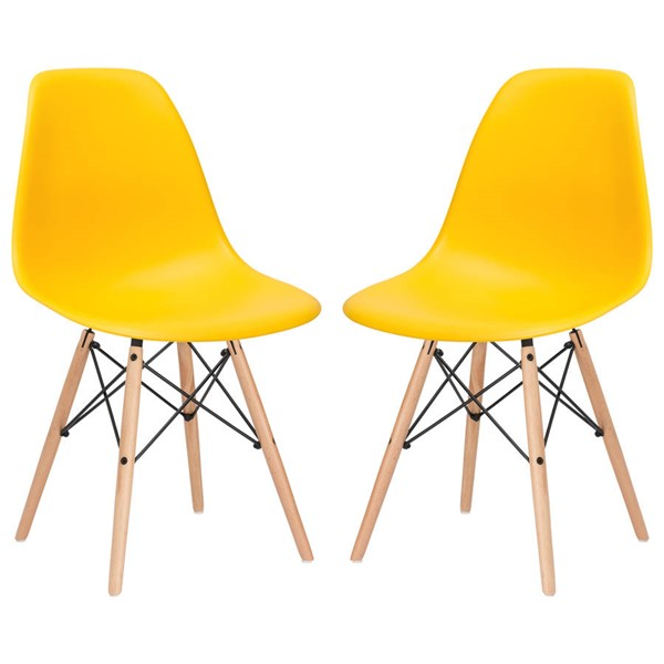 2 Edgemod Furniture Vortex Yellow Side Chairs EMD-EM-105-NAT-YEL-X2
