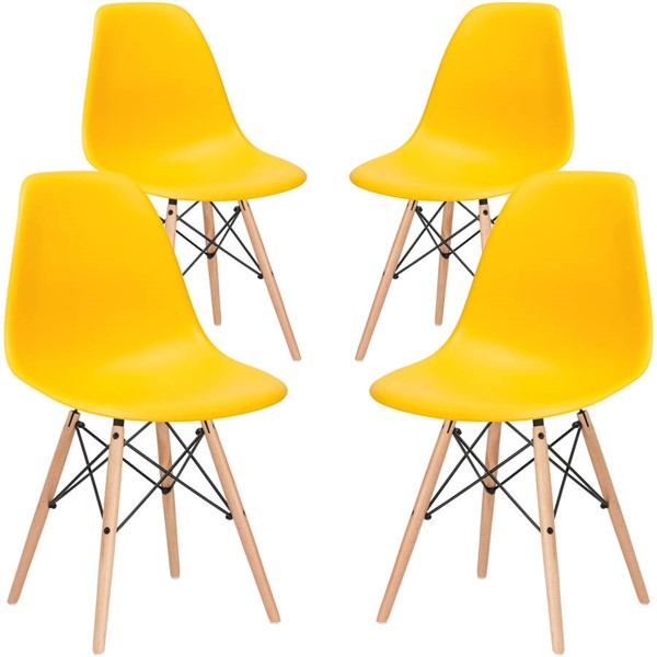 4 Edgemod Furniture Vortex Yellow Side Chairs EMD-EM-105-NAT-YEL-X4