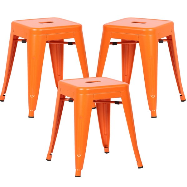 3 Edgemod Furniture Trattoria Orange 18 Inch Stools EMD-EM-195-ORA-X3