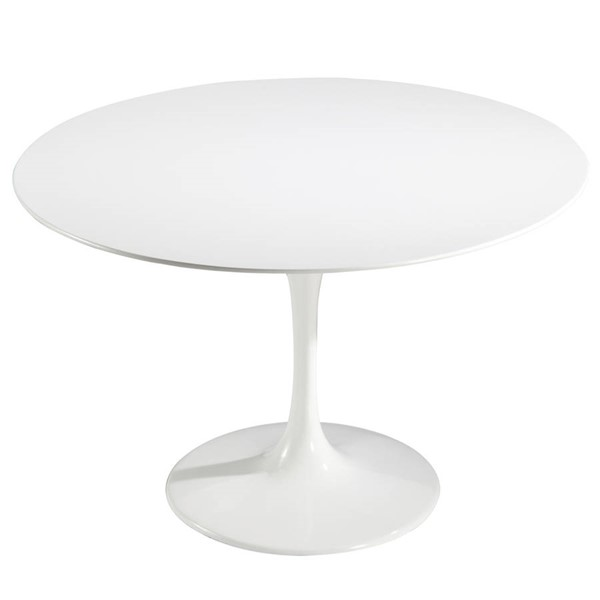 Poly and Bark Daisy White 48 Inch Fiberglass Dining Table PNB-PB-201-WHI