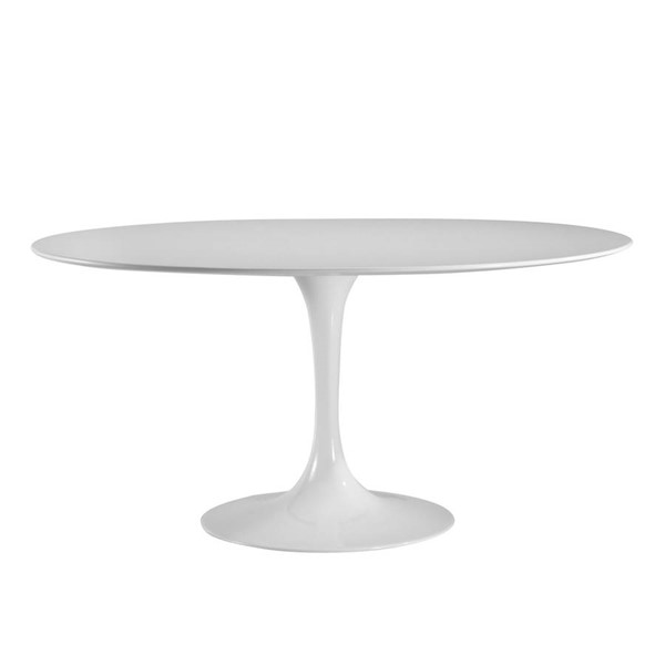 Poly and Bark Daisy White Wood Top 60 Inch Oval Dining Table PNB-PB-207-WHI