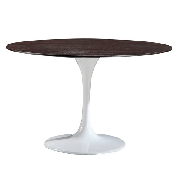 Poly and Bark Daisy Walnut Top White Base 48 Inch Dining Table PNB-PB-213-WHI