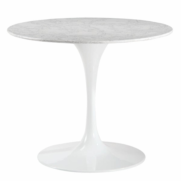 Poly and Bark Daisy White 36 Inch Artificial Marble Dining Table PNB-PB-218-WHI