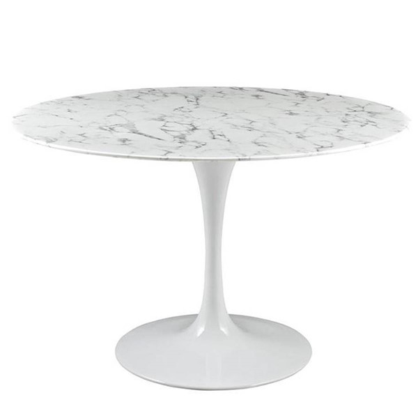 Edgemod Furniture Daisy White 48 Inch Artificial Marble Dining Table EMD-EM-244-WHI
