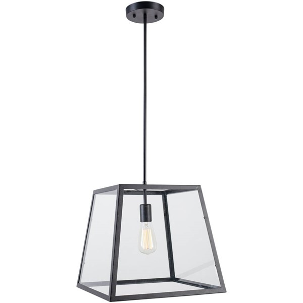 Edgemod Furniture Preston Matte Black Clear Glass Pendant Lamp EMD-LS-C103
