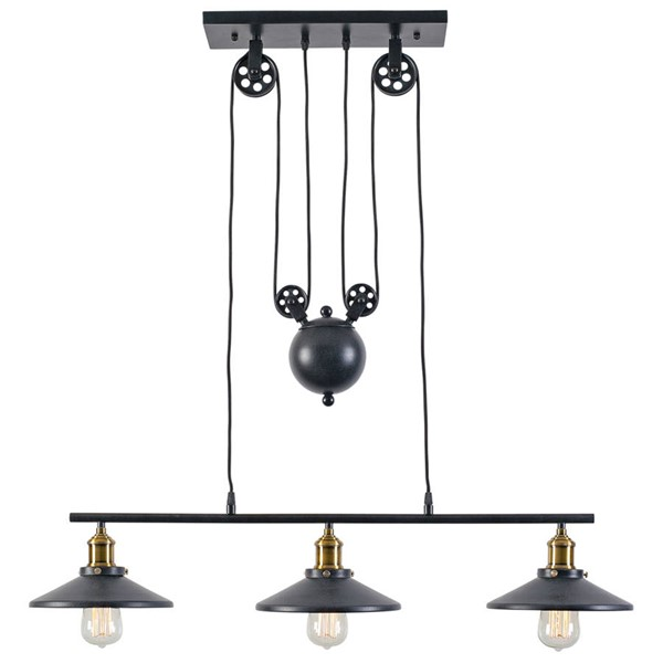 Edgemod Furniture Rawley Vintage Dark Gray 3 Light Pulley Pendant EMD-LS-C123