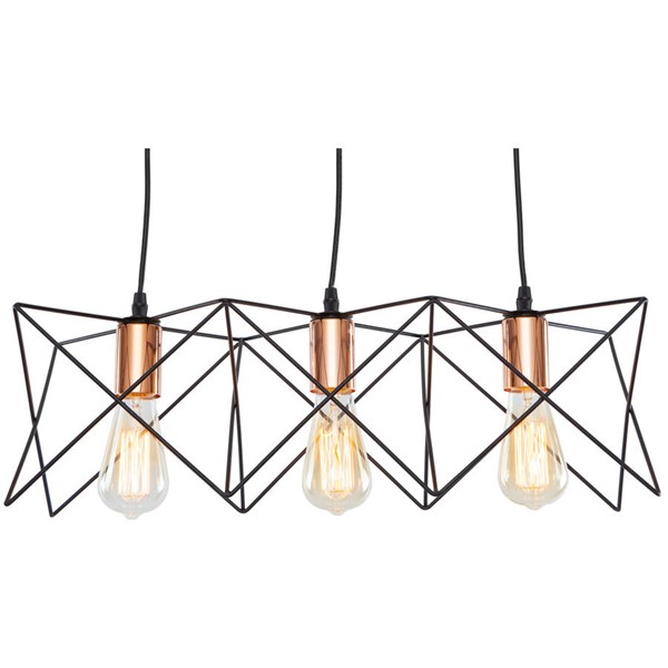 Edgemod Furniture Crampton Black Copper Three Light Pendant EMD-LS-C183-BLK-CPR