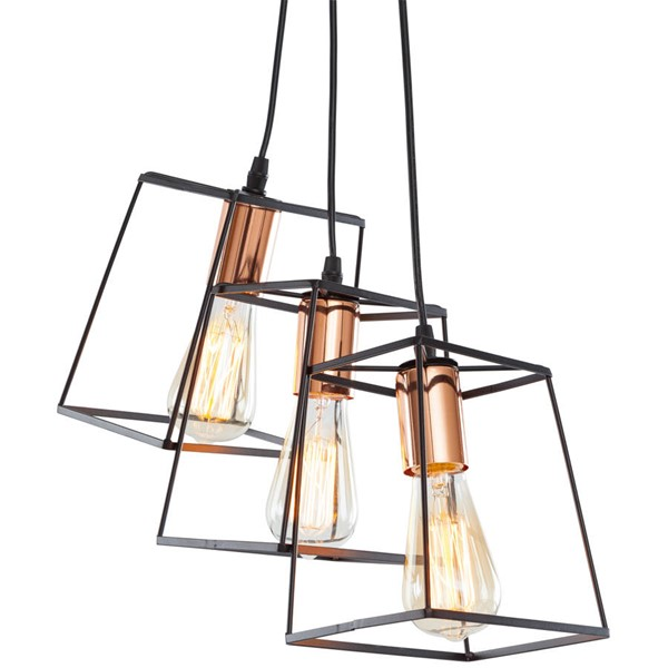 Edgemod Furniture Port Black Copper Hadlock Three Light Pendant EMD-LS-C185-BLK-CPR