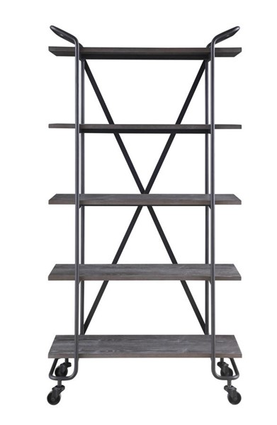 Emerald Home Quincy Gray Black Wood 5 Shelves Bookcase EMR-AC415-36