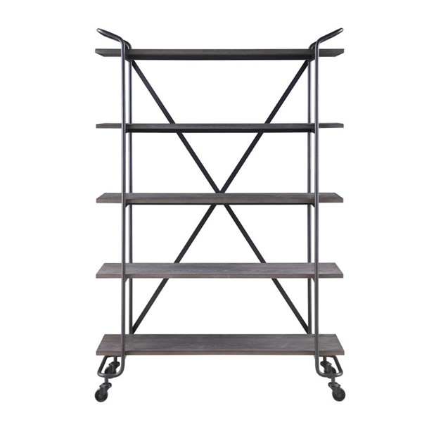 Emerald Home Quincy Gray Black Wood 5 Shelves Tall Bookcase EMR-AC415-48