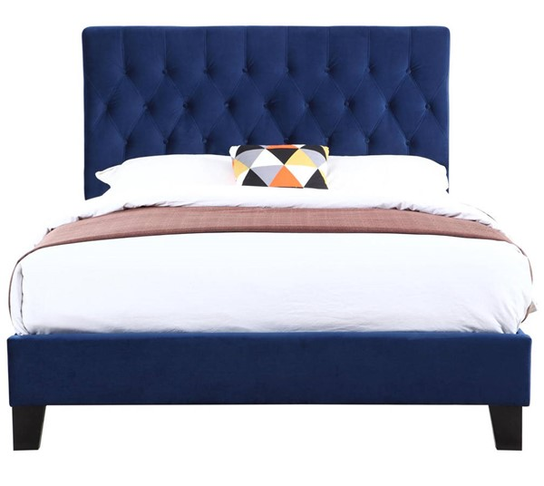 Emerald Home Amelia Navy Fabric Twin Upholstered Bed EMR-B128-08HBFBR-14