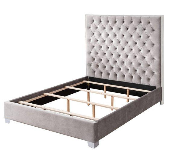 Emerald Home Lacey Silver Gray Cal King Upholstered Bed EMR-B132-13-03-K