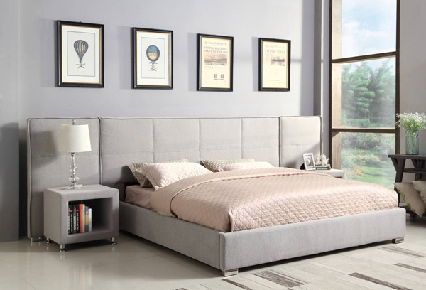 Emerald Home Cazelle Gray Fabric Queen Wall Bed EMR-B133-10-03WINGS-K