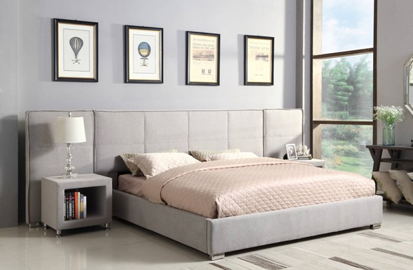 Emerald Home Cazelle Gray Fabric King Wall Bed EMR-B133-12-03WINGS-K
