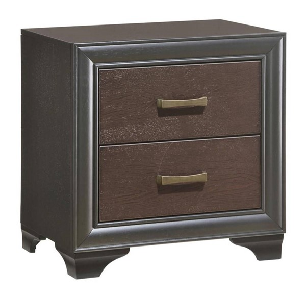 Emerald Home Prelude Black Brown Wood 2 Drawers Night Stand EMR-B588-04