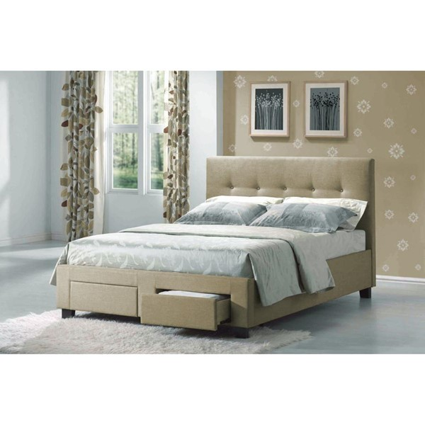 Emerald Home Sydney Beige Fabric King Upholstered Bed EMR-B866P-12-K