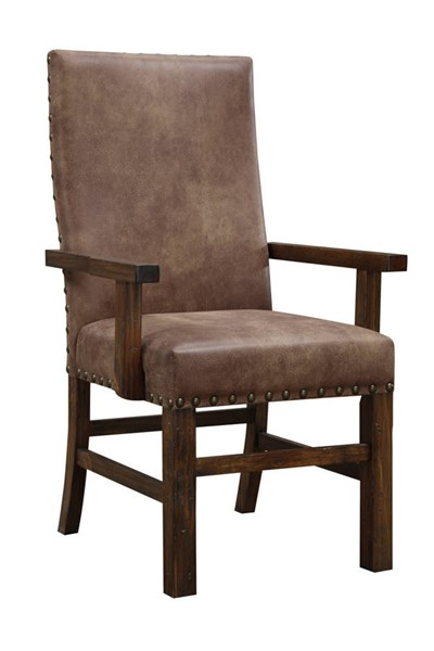 2 Emerald Home Chambers Creek Brown Upholstered Dining Arm Chairs EMR-D412-21-2PK-K