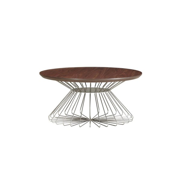 Emerald Home Pizzazz Walnut Brown Round Coffee Table EMR-T144-00