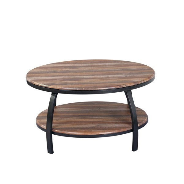 Emerald Home Carson Natural Wood Black Round Coffee Table EMR-T226-00