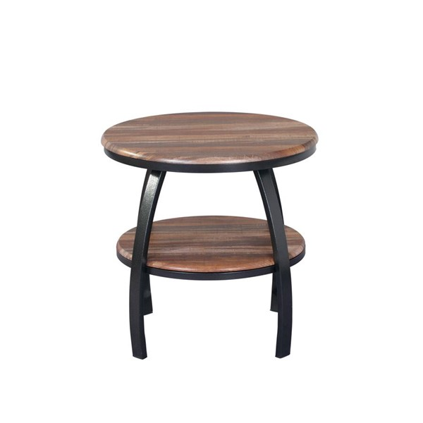 Emerald Home Carson Natural Wood Black Round End Table EMR-T226-01