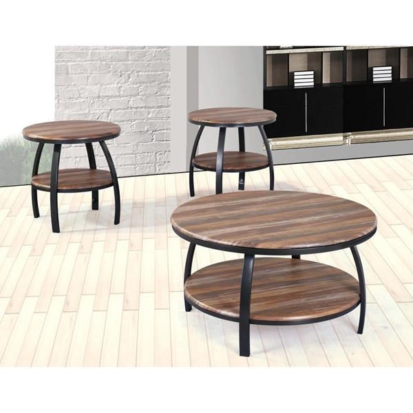 Emerald Home Carson Natural Wood Black Round 3pc Coffee Table Set EMR-T226-OCT-S1
