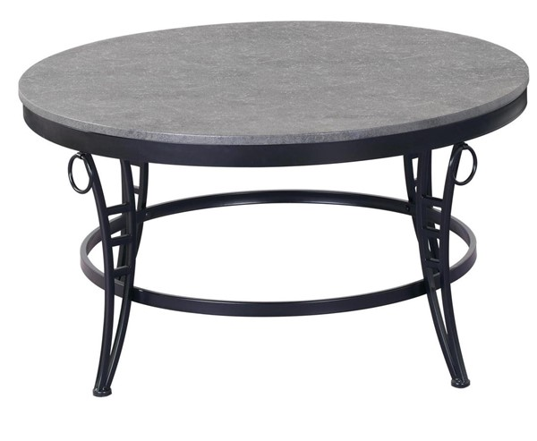 Emerald Home Emmerson Gray Black Metal Round Coffee Table EMR-T229-00