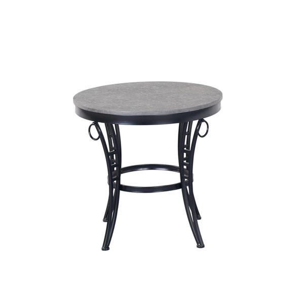 Emerald Home Emmerson Gray Black Metal Round End Table EMR-T229-01