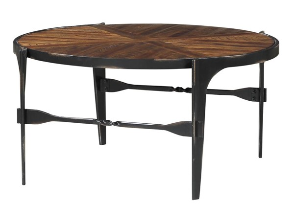 Emerald Home Franklins Forge Black Amber Round Coffee Table EMR-T247-00