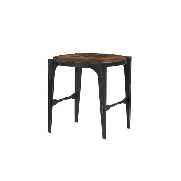 Emerald Home Franklins Forge Black Amber Round End Table EMR-T247-01
