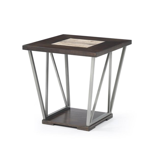 Emerald Home North Bay Brown Gray MDF Square End Table EMR-T526-01