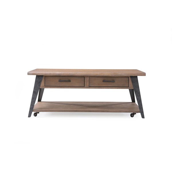 Emerald Home Harpers Mill Tan Wood 2 Drawers Coffee Table EMR-T611-00