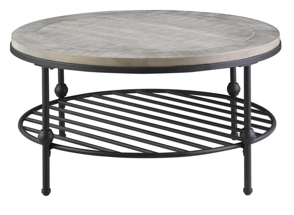 Emerald Home Cutter Oak Gray Metal Round Coffee Table EMR-T618-00