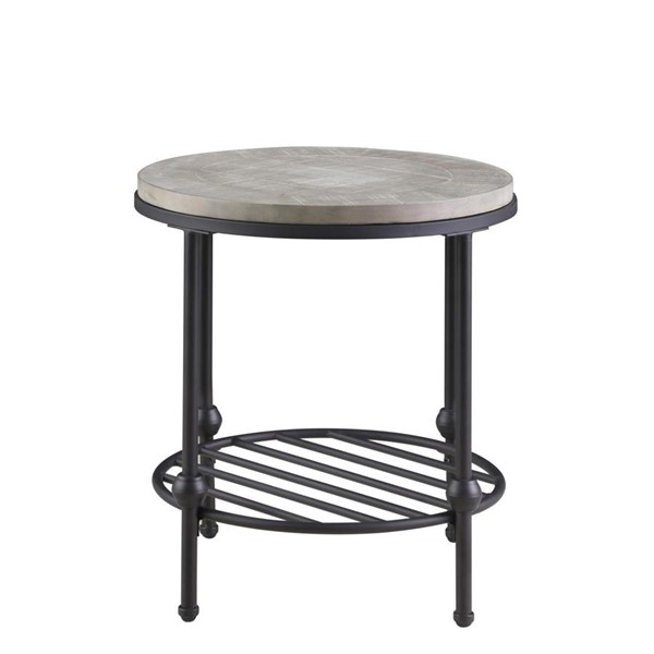 Emerald Home Cutter Oak Gray Metal Round End Table EMR-T618-01