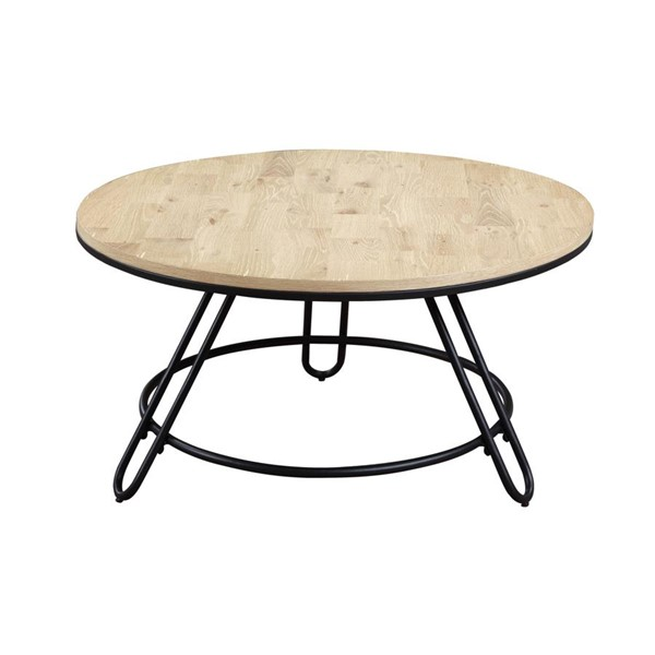 Emerald Home Penbrook Natual Black Round Coffee Table EMR-T688-00