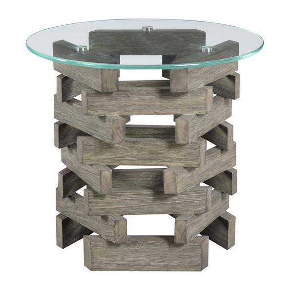Emerald Home Jenga Driftwood Round End Table EMR-T833-01-K