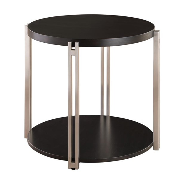 Emerald Home Merlot Tawny Brown Round End Table EMR-T840-01