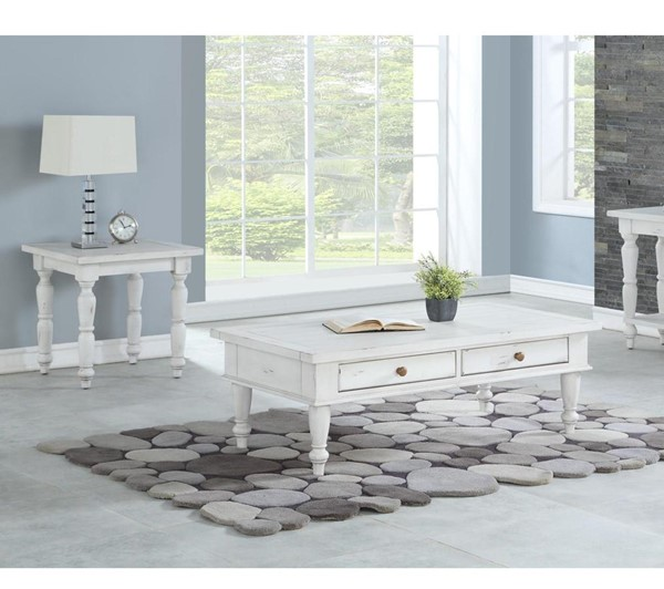 Emerald Home Abaco White 3pc Coffee Table Set EMR-T848-OCT-S1