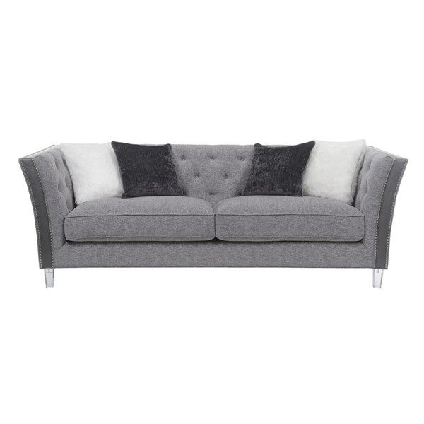 Emerald Home Patricia Silver Gray Tufted Back Sofa EMR-U3290-00-03