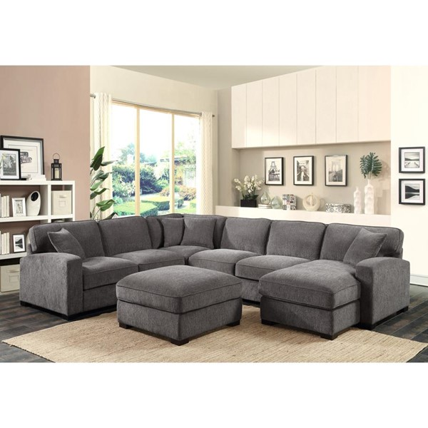 Emerald Home Repose Gray 2pc Sectional and Ottoman Set EMR-U4174-SN-S1