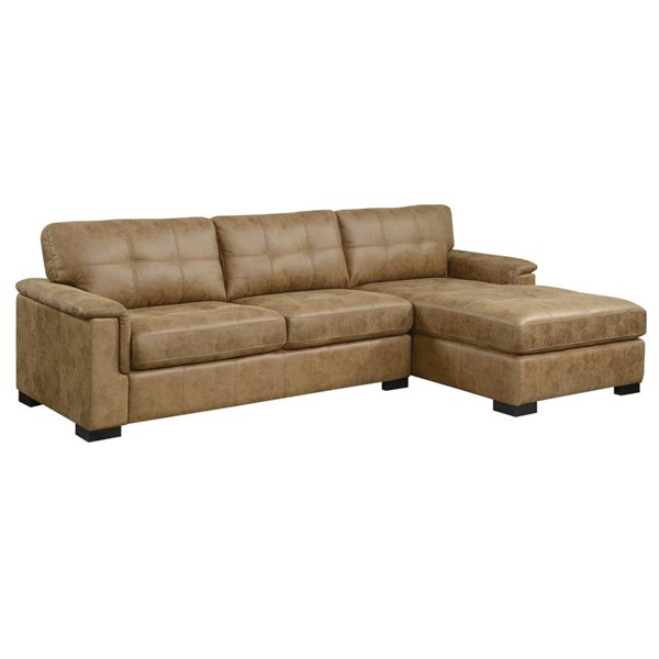 Emerald Home Abbott Saddle Brown Faux Leather Sectional Sofa EMR-U4190-11-12-05-K