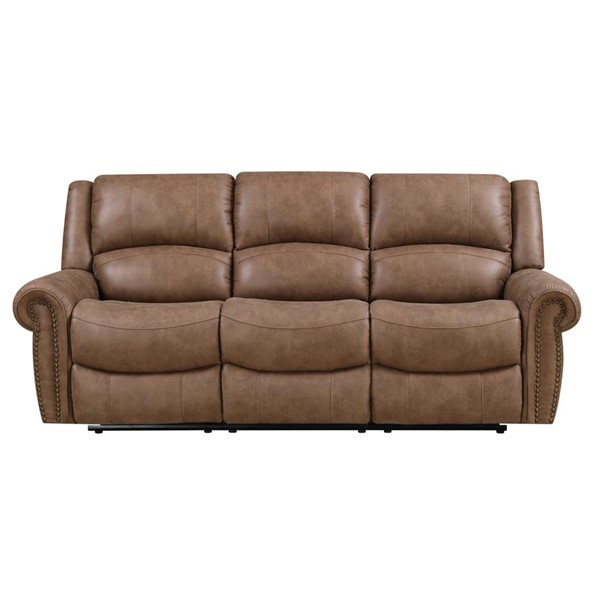 Emerald Home Spencer Brown Fabric Reclining Sofa EMR-U7122-00-05