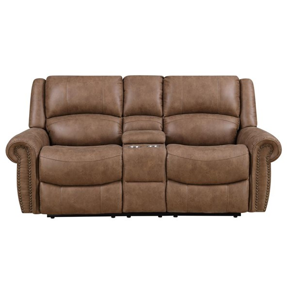 Emerald Home Spencer Brown Fabric Reclining Loveseat EMR-U7122-09-05
