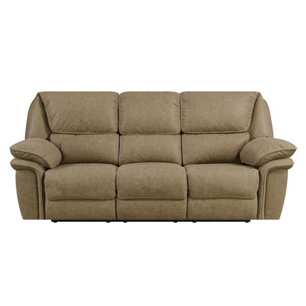 Emerald Home Allyn Desert Sand Fabric Reclining Sofa EMR-U7127-18-05