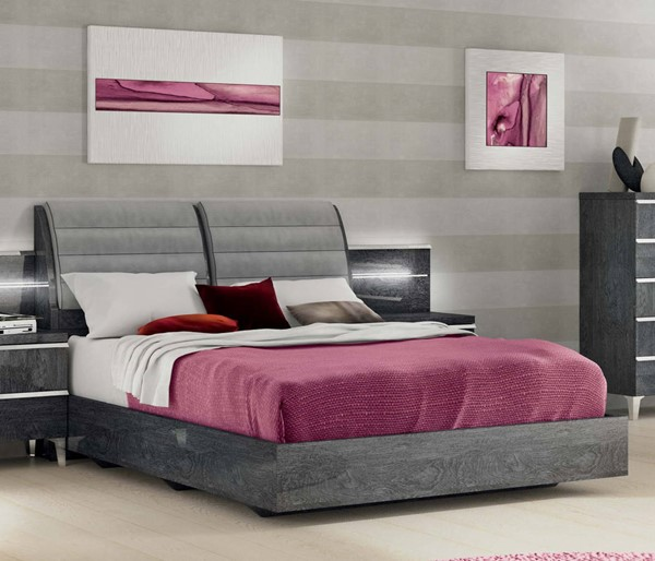 ESF Status Italy Elite Grey Beds with Slate Frame ESF-i1118-BED-VAR