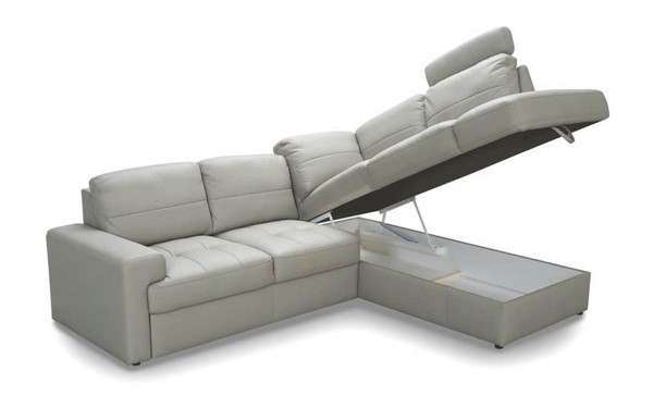 ESF Galla Poland White Leather Ella Sectional Right with Bed ESF-i25716