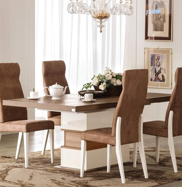 ESF Status Italy Evolution Ivory Brown Extension Dining Table ESF-i16846
